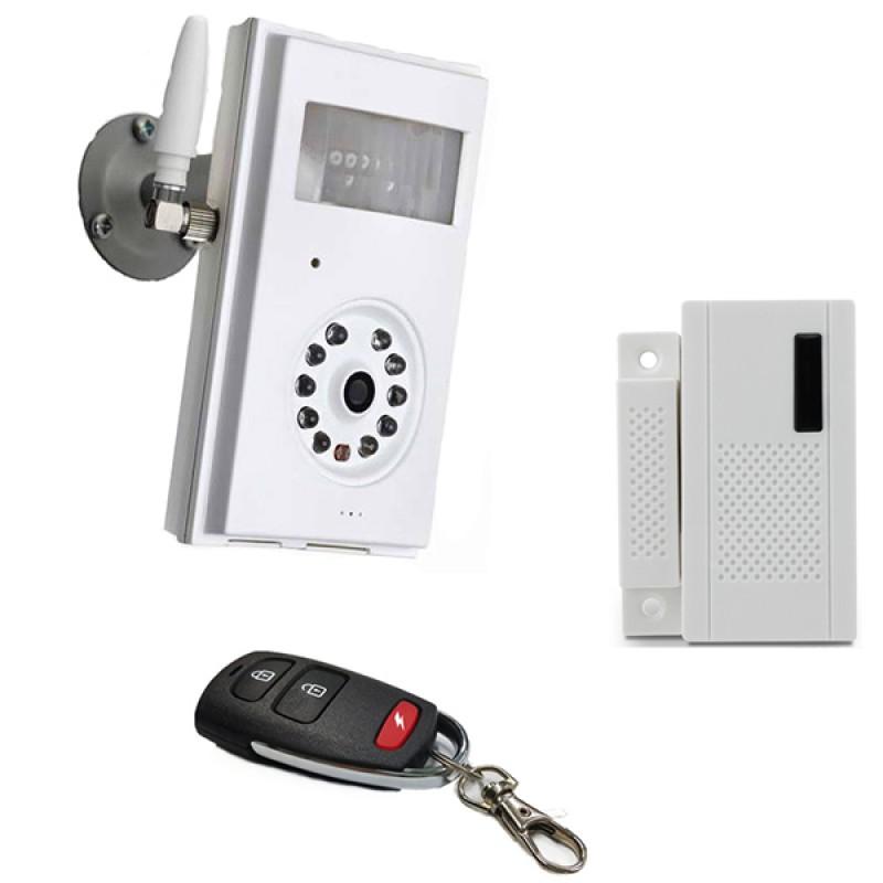Caméra de surveillance GSM sans fil avec détecteur magnétique d'ouverture de porte